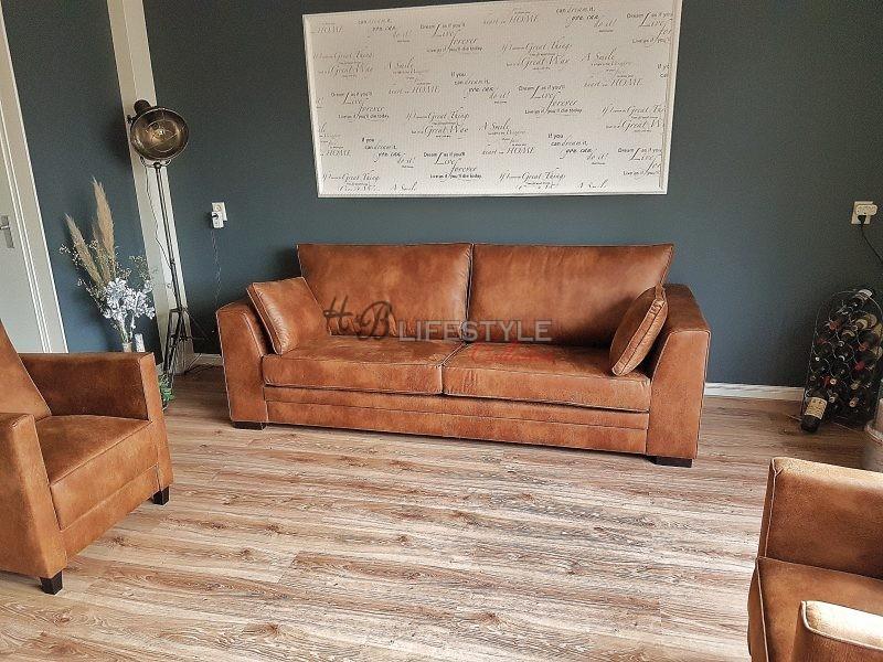 Stoere zitbank hb lifestyle collection for Cognac kleur combineren interieur